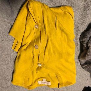 Ann Taylor Loft yellow balloon sleeve cardigan
